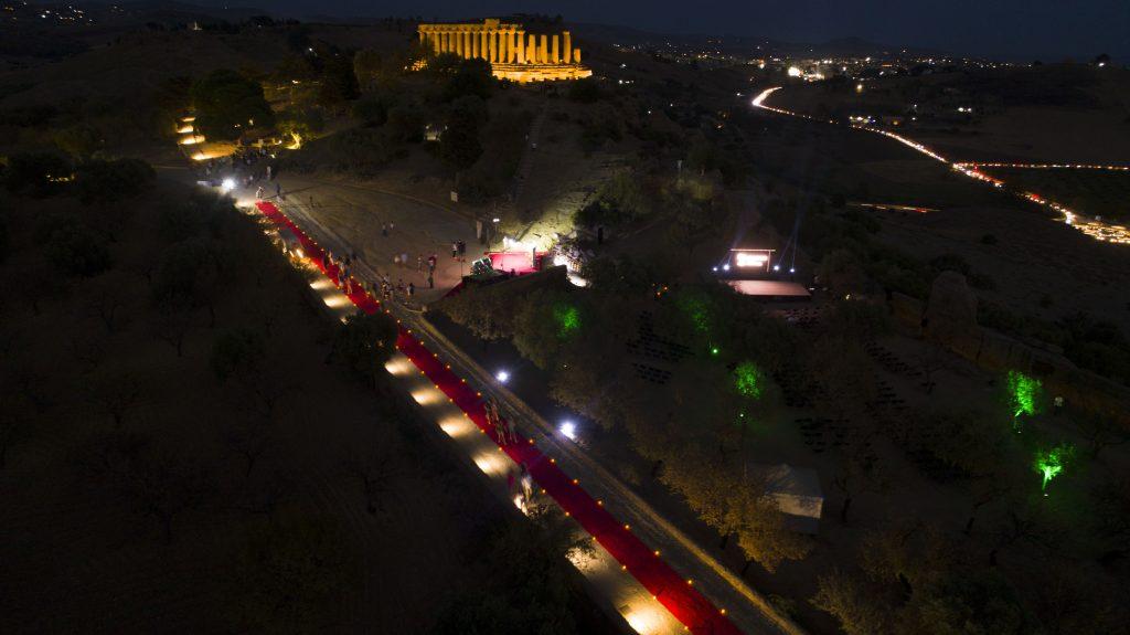 Il red carpet nella scorsa edizione, sullo sfondo il Tempio di Giunone
