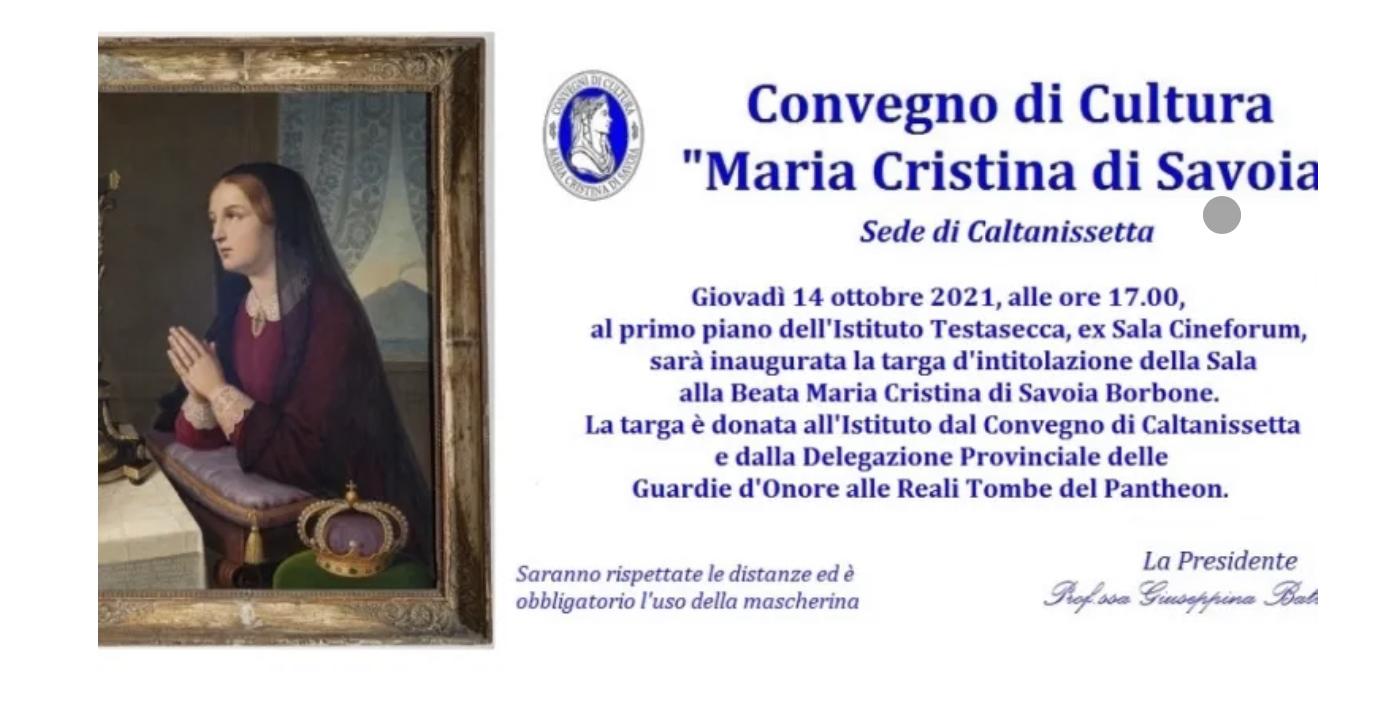 Caltanissetta. Intitolazione ex sala cineforum Testasecca Beata Maria Cristina di Savoia